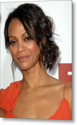 Zoe Saldana At Arrivals For Death At A Metal Print by Everett