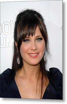 Zooey Deschanel At Arrivals For 500 Metal Print by Everett