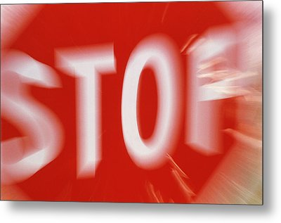 Zoom-effect Photo Of A Roadside Stop Sign Metal Print by Tony Craddock