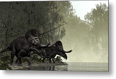 Metal Print featuring the painting Zuniceratops by Walter Colvin