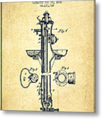 Fire Hydrant Patent From 1876 - Vintage Metal Print by Aged Pixel