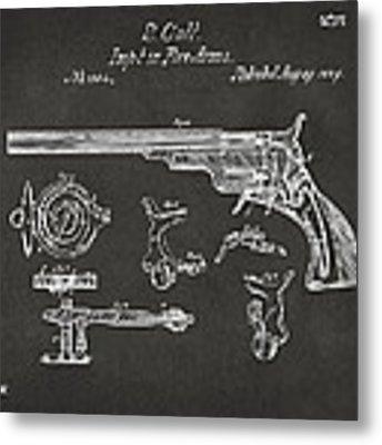 1839 Colt Fire Arm Patent Artwork - Gray Metal Print