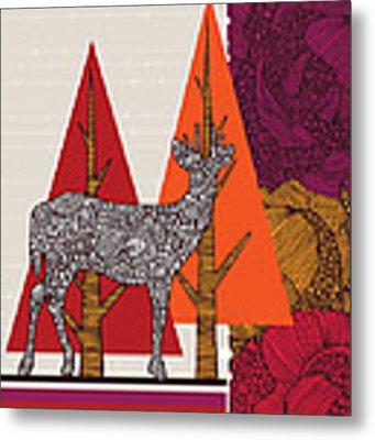 A Deer In Woodland Metal Print