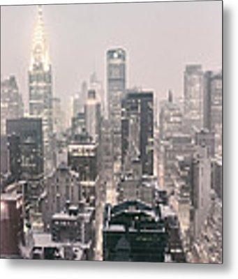 New York City - Snow Covered Skyline Metal Print
