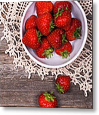 Strawberry Vintage Metal Print