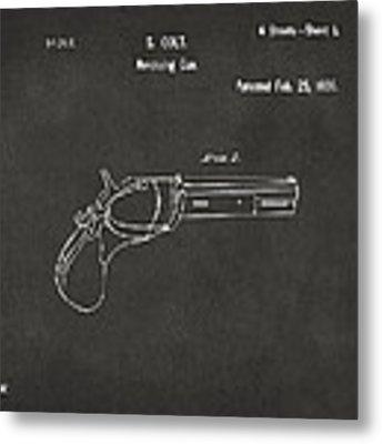 1836 First Colt Revolver Patent Artwork - Gray Metal Print