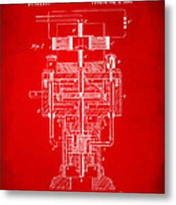 1894 Tesla Electric Generator Patent Red Metal Print by Nikki Marie Smith