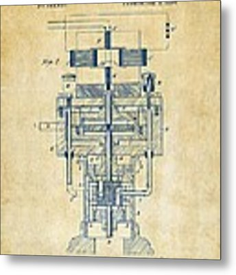 1894 Tesla Electric Generator Patent Vintage Metal Print by Nikki Marie Smith