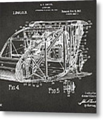 1917 Glenn Curtiss Aeroplane Patent Artwork 3 - Gray Metal Print
