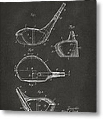 1926 Golf Club Patent Artwork - Gray Metal Print by Nikki Marie Smith