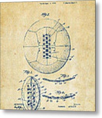 1928 Soccer Ball Lacing Patent Artwork - Vintage Metal Print