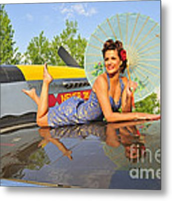 1940s Style Pin-up Girl With Parasol Metal Print by Christian Kieffer