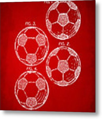 1964 Soccerball Patent Artwork - Red Metal Print by Nikki Marie Smith