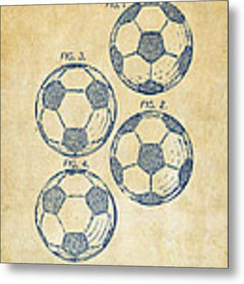 1964 Soccerball Patent Artwork - Vintage Metal Print by Nikki Marie Smith