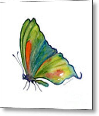 3 Perched Orange Spot Butterfly Metal Print by Amy Kirkpatrick