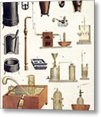 Chemistry Equipment, Early 19th Century Metal Print