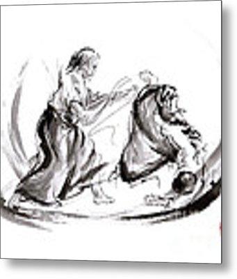 Aikido Fight Scenery Martial Arts Drawing Painting Sketch Art Draw Japan Japanese School Metal Print by Mariusz Szmerdt