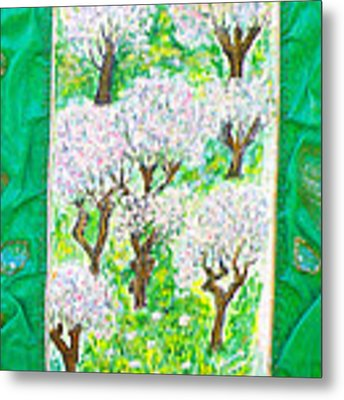 Almond Trees And Leaves Metal Print by Augusta Stylianou