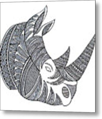 Animal Head Hippo Metal Print