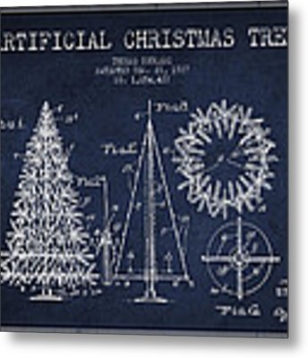 Artifical Christmas Tree Patent From 1927 - Navy Blue Metal Print