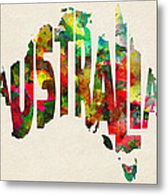 Australia Typographic Watercolor Map Metal Print