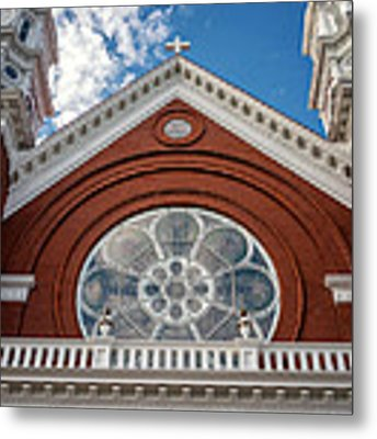 Basilica Of Saint Stanislaus Kostka Front Detail Metal Print by Kari Yearous