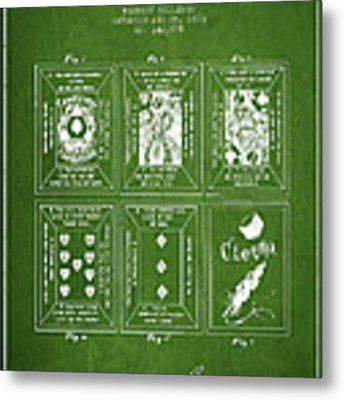 Billings Playing Cards Patent Drawing From 1873 - Green Metal Print by Aged Pixel