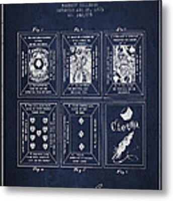 Billings Playing Cards Patent Drawing From 1873 - Navy Blue Metal Print by Aged Pixel