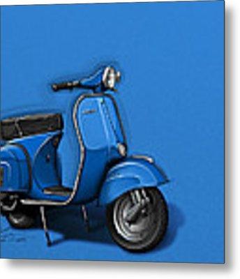 Blue Vespa Metal Print by Etienne Carignan