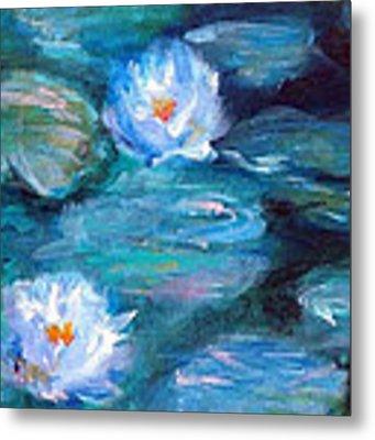 Blue Water Lilies Metal Print by Lauren Heller