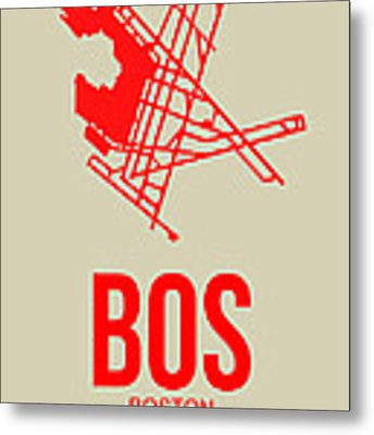 Bos Boston Airport Poster 1 Metal Print by Naxart Studio