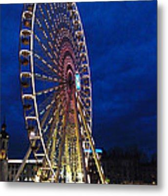 Bright Night Ferris Wheel Metal Print by Stwayne Keubrick