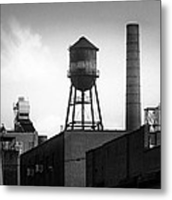 Brooklyn Water Tower And Smokestack - Black And White Industrial Chic Metal Print by Gary Heller