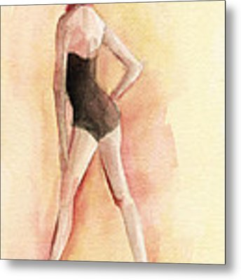 Brown Vintage Bathing Suit 1 Fashion Illustration Art Print Metal Print by Beverly Brown