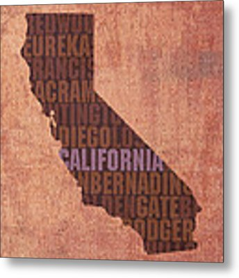 California Word Art State Map On Canvas Metal Print