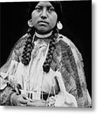 Cayuse Woman Circa 1910 Metal Print by Aged Pixel