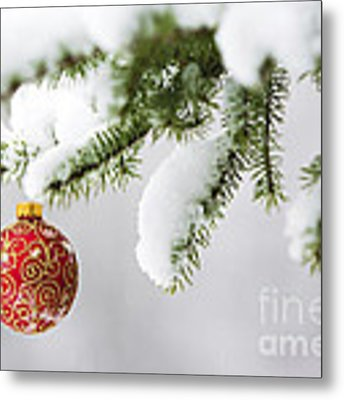 Christmas Ornament In The Snow Metal Print