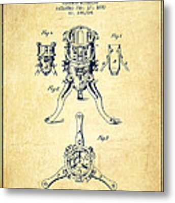Christmas Tree Holder Patent From 1880 - Vintage Metal Print