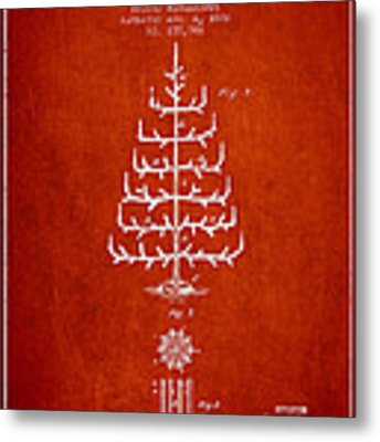 Christmas Tree Patent From 1882 - Red Metal Print