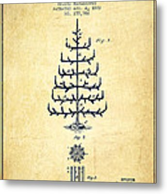 Christmas Tree Patent From 1882 - Vintage Metal Print