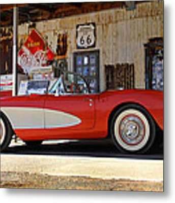 Classic Corvette On Route 66 Metal Print by Mike McGlothlen