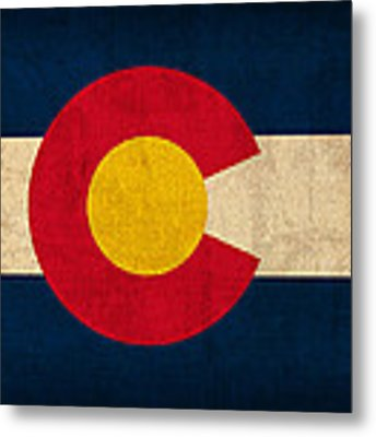 Colorado State Flag Art On Worn Canvas Metal Print