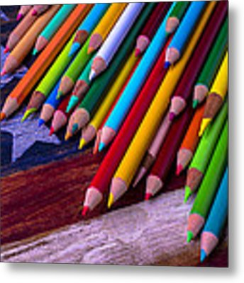 Colored Pencils On Wooden Flag Metal Print