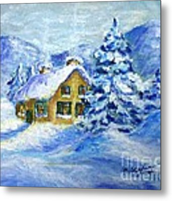 Cottage In The Winter Metal Print by Cristina Stefan