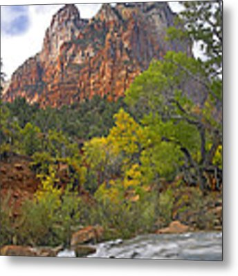 Court Of The Patriarchs Zion Np Utah Metal Print by Tim Fitzharris
