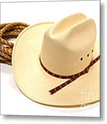 Cowboy Hat And Rope Metal Print by Olivier Le Queinec