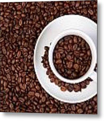 Cup Of Coffee Beans Metal Print by Raimond Klavins