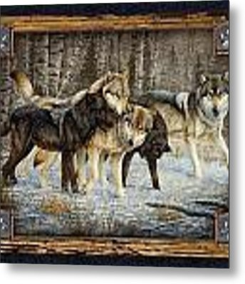 Deco Wolves Metal Print