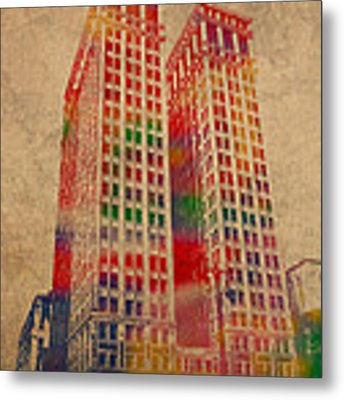 Dime Building Iconic Buildings Of Detroit Watercolor On Worn Canvas Series Number 1 Metal Print