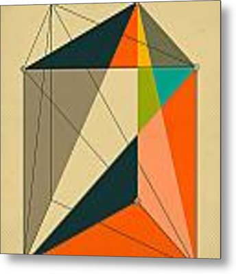 Dissection Of The Triangular Prism Into 3 Pyramids Of Equal Volume Metal Print